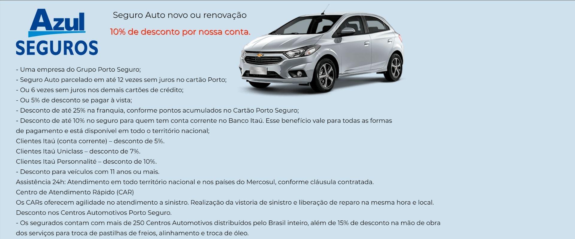 Azul Seguro Auto com Desconto em São Joaquim da Barra