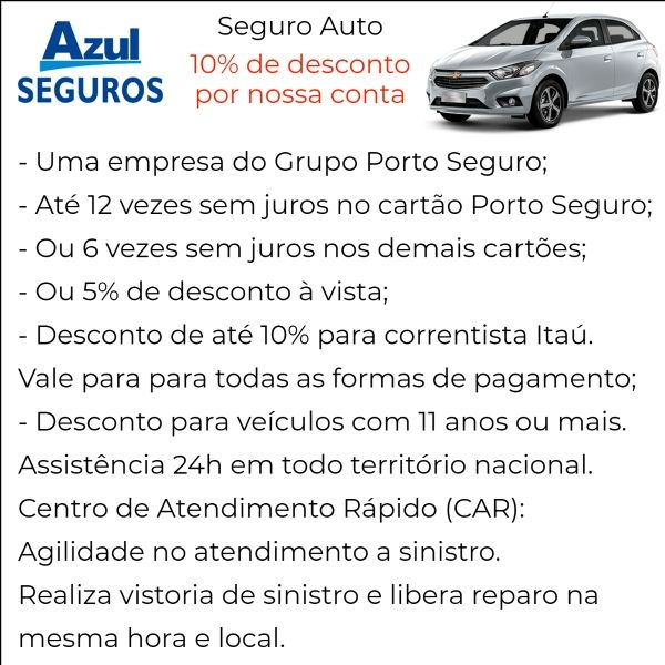 Azul Seguro Auto com Desconto em Pederneiras